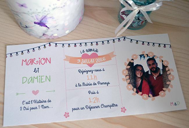 Création d'un faire-part de mariage Champêtre. ©Madame Lulette