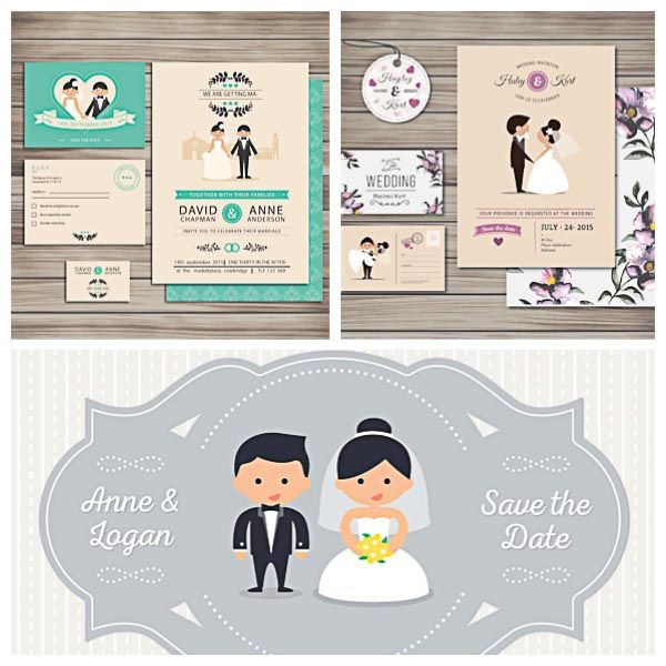 lovely wedding invitation cards with cartoon characters set vector, Wedding invitations