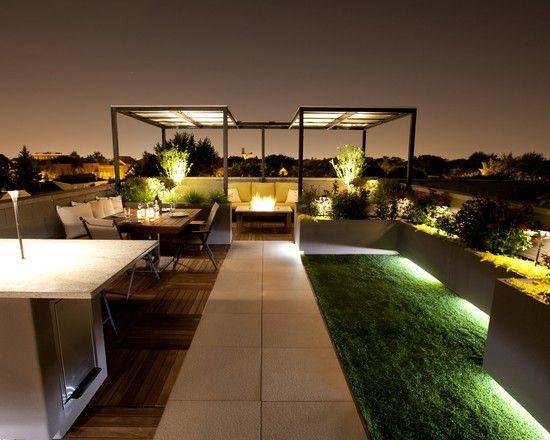 dachterrasse fliesen holz stein rasen beleuchtung überdachung lounge ...