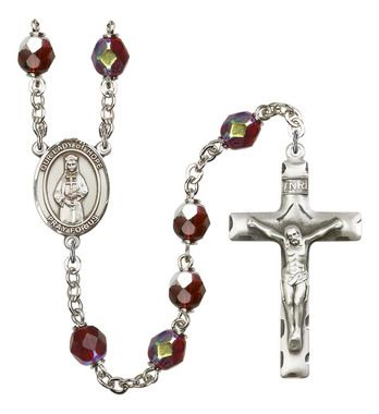 Our Lady of Hope Silver-Plated Rosary with 7mm Garnet Lock Link Aurora Borealis beads