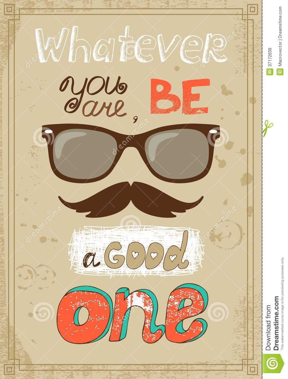 vintage eyeglass poster | Hipster poster with vintage glasses mustache and message vector ...