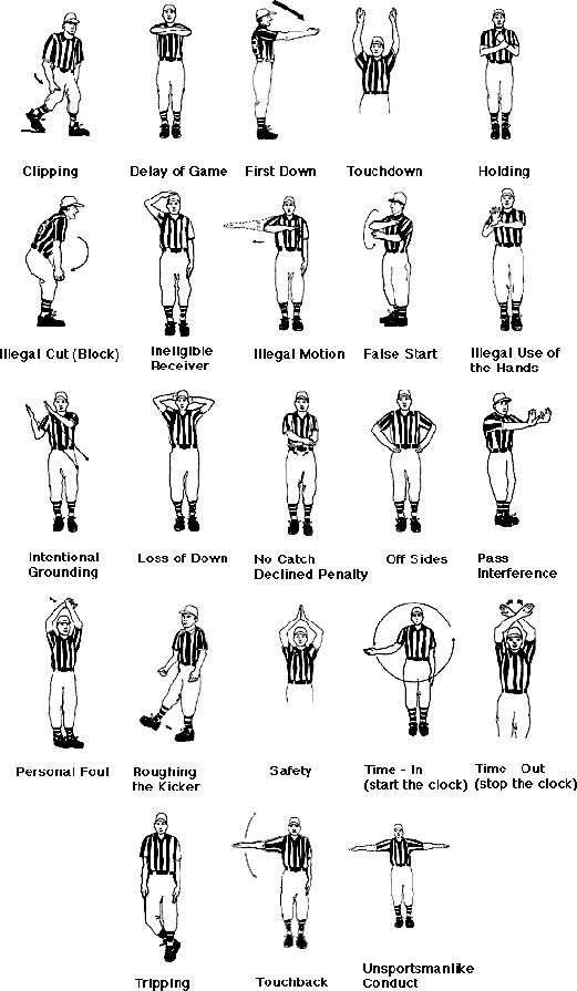 NFL Officials Signals - I'm determined to learn all of the signals and obscure rules -I love football!!!