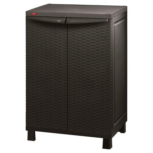 Space Basic Base Rattan Utility Storage Cabinet Brown Keter