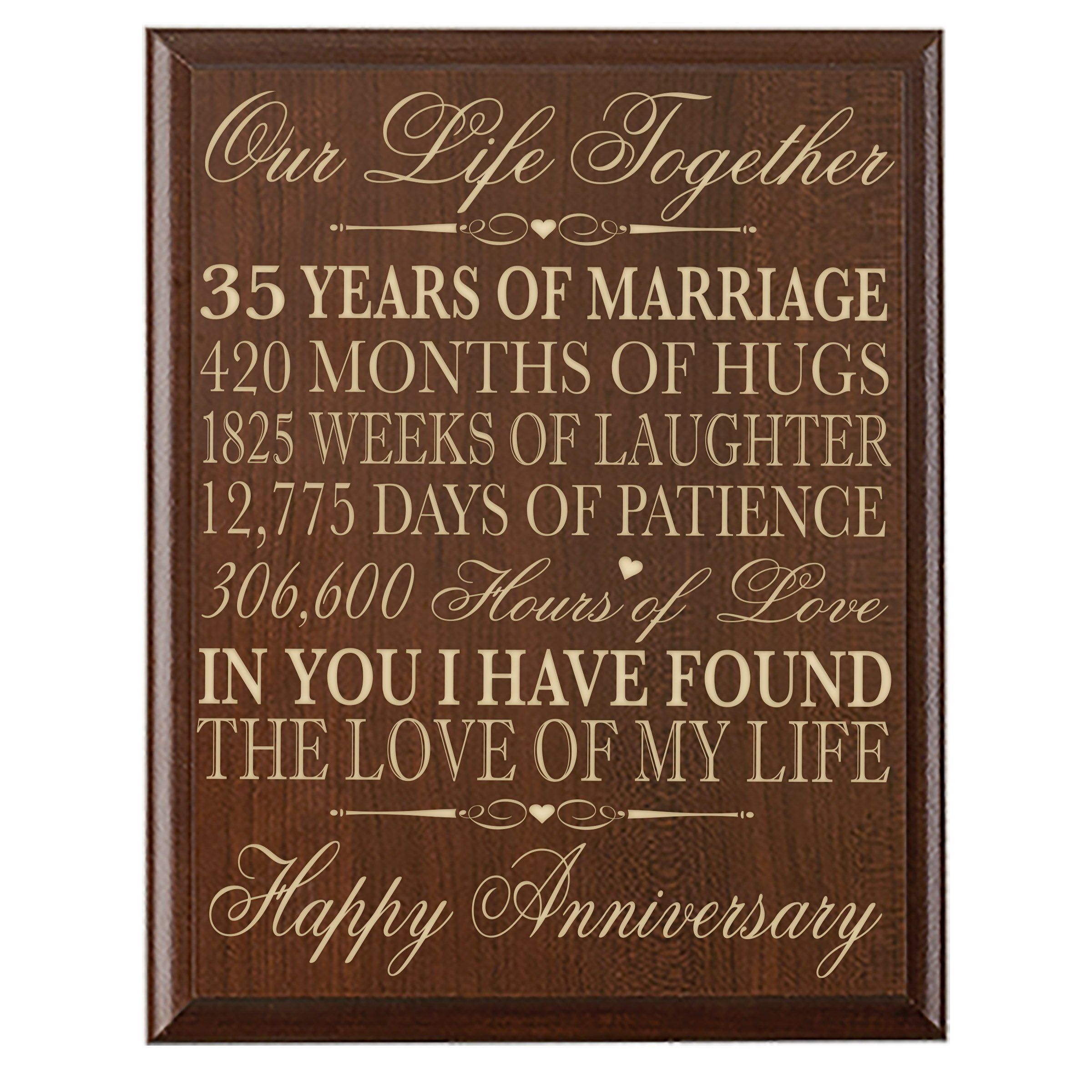 35th Wedding Anniversary Wall Plaque Gifts for