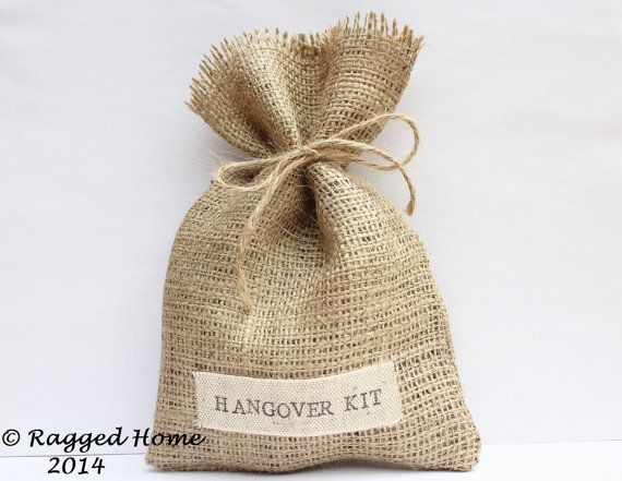 10 X Hessian Hangover Kit Or Thank You Favour Bags By Raggedhome