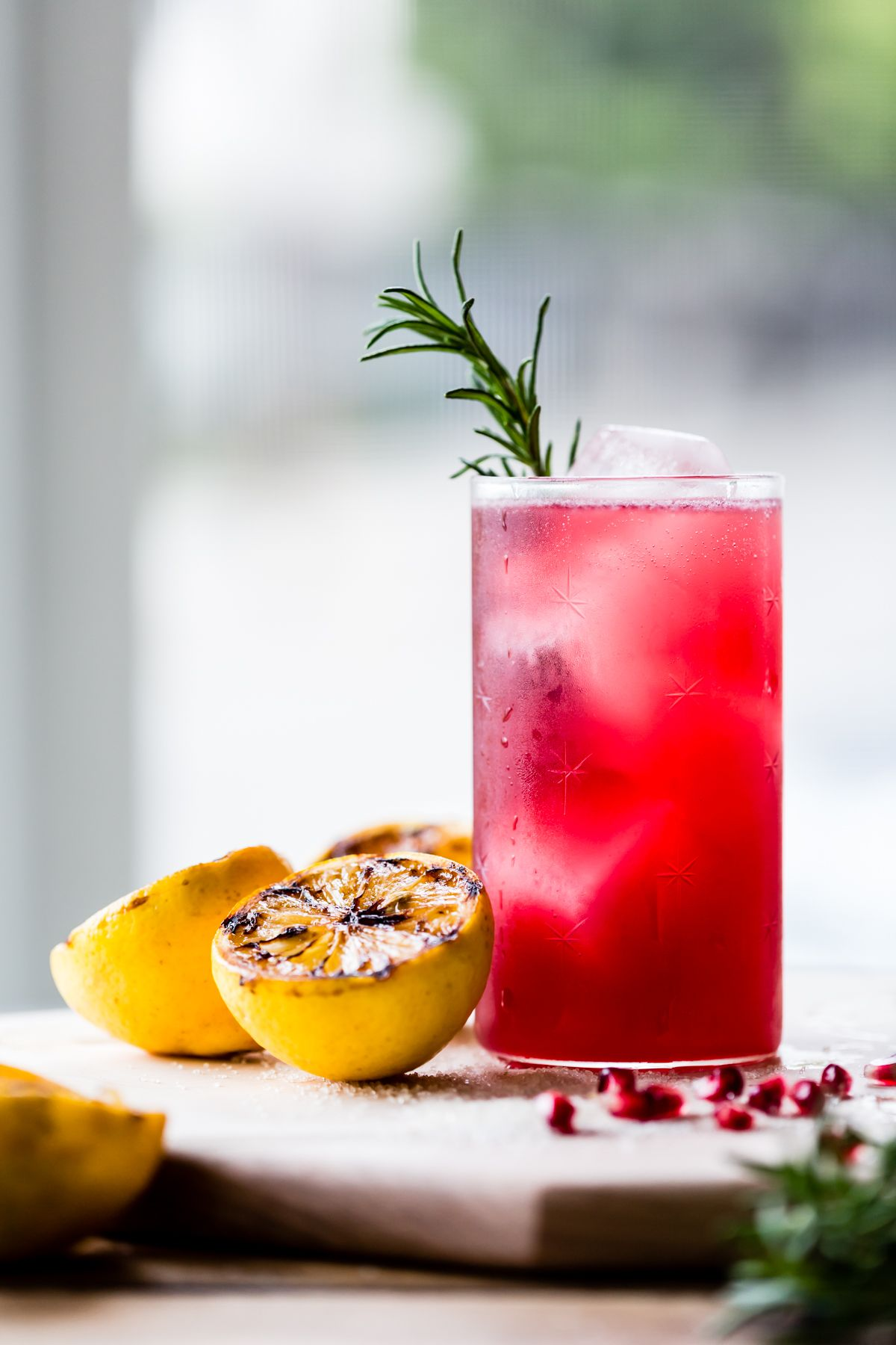 Rosemary, Pomegranate, & Grilled Meyer Lemon Vodka Sparklers | Drink ...