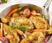 Sauté de poulet pané aux fines herbes et aux légumes