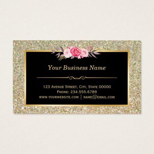 Gold Glitter Makeup Artist Hair Salon Fl Wrap Business Card