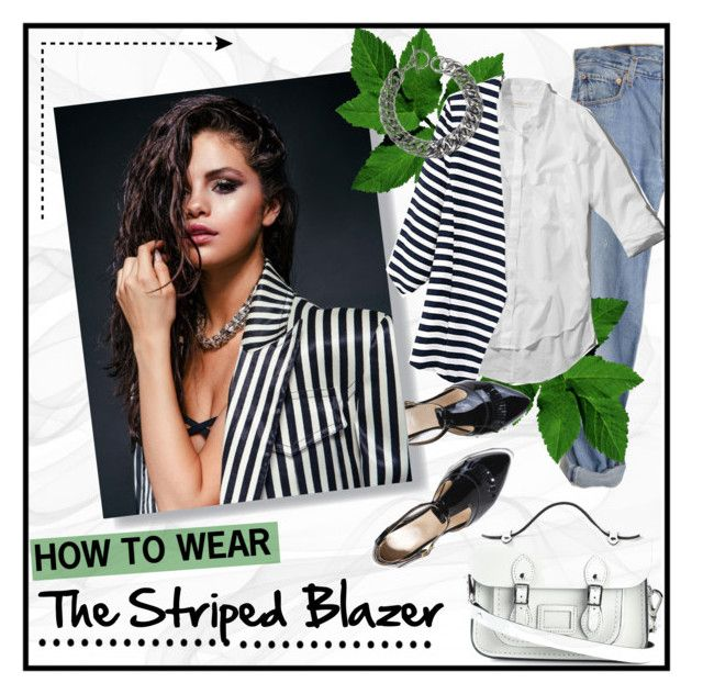 """How to wear the striped blazer"" by elisapar ❤ liked on Polyvore featuring Levi's, The Cambridge Satchel Company, Abercrombie & Fitch and Yves Saint Laurent"