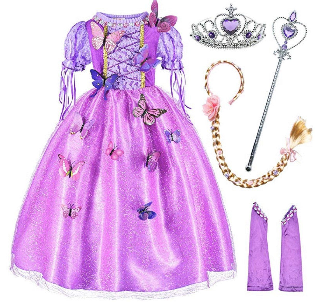 Birthday Party Disney Rapunzel Deluxe Dress Costume Set for Kids Accessories