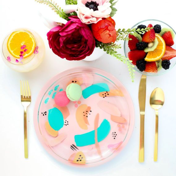 These colorful hand painted abstract art plates are the perfect way to make every meal a party. The pattern for each plate will vary slightly, put the colors will be the same as shown in the photo. They are a colorful addition to your kitchen. These plates are food safe and dishwasher safe (if washed without the heat setting on or on the top rack).