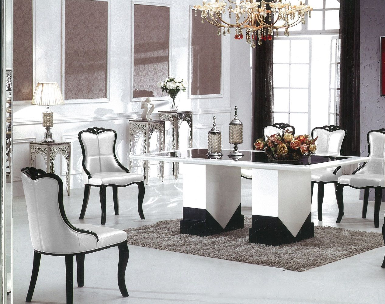 Stunning White Black Marble Dining Table For 4 White Dining Chairs Above  White Ceramic Floor Used Soft Carpet Under Chandelier Beside Lampshade For  Modern ...