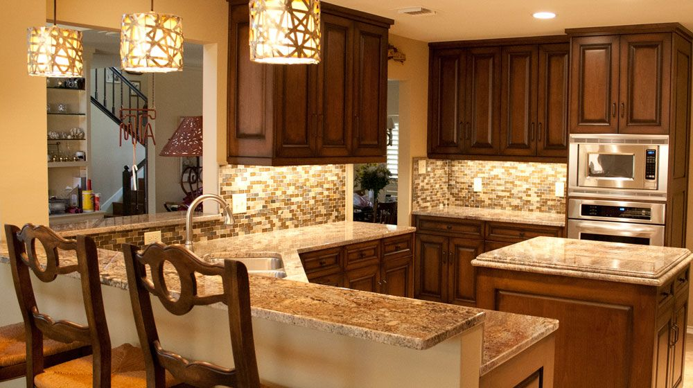 Backsplash Glass Tile Brown With Brown Cabinets | Colonial Gold, Granite,  Countertops, Glass Tile, Backsplash, Kitchen .