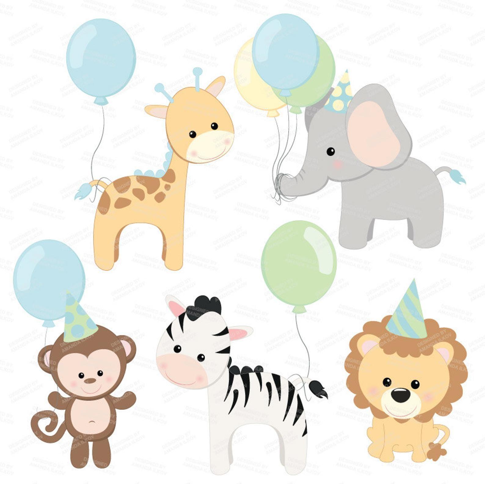 Professional Baby Birthday Party Animals Clipart Vector Set Baby Shower Clip Art Baby Animals Clip Art Birthday Party Clipart Decoracao Arca De Noe Festa Com Tema De Animais Decoracao