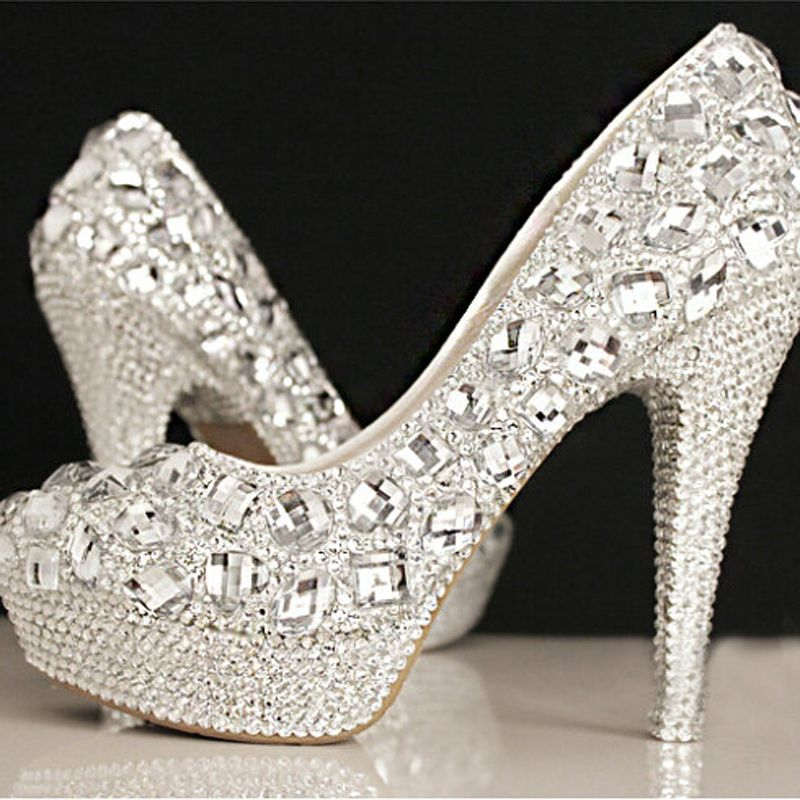 322cef510e3 New Sale Gorgeous Fashion Silver High Heels Crystal Wedding Shoes Lady Glitter  Bridal Dress Shoes Graduation Party Prom Shoes