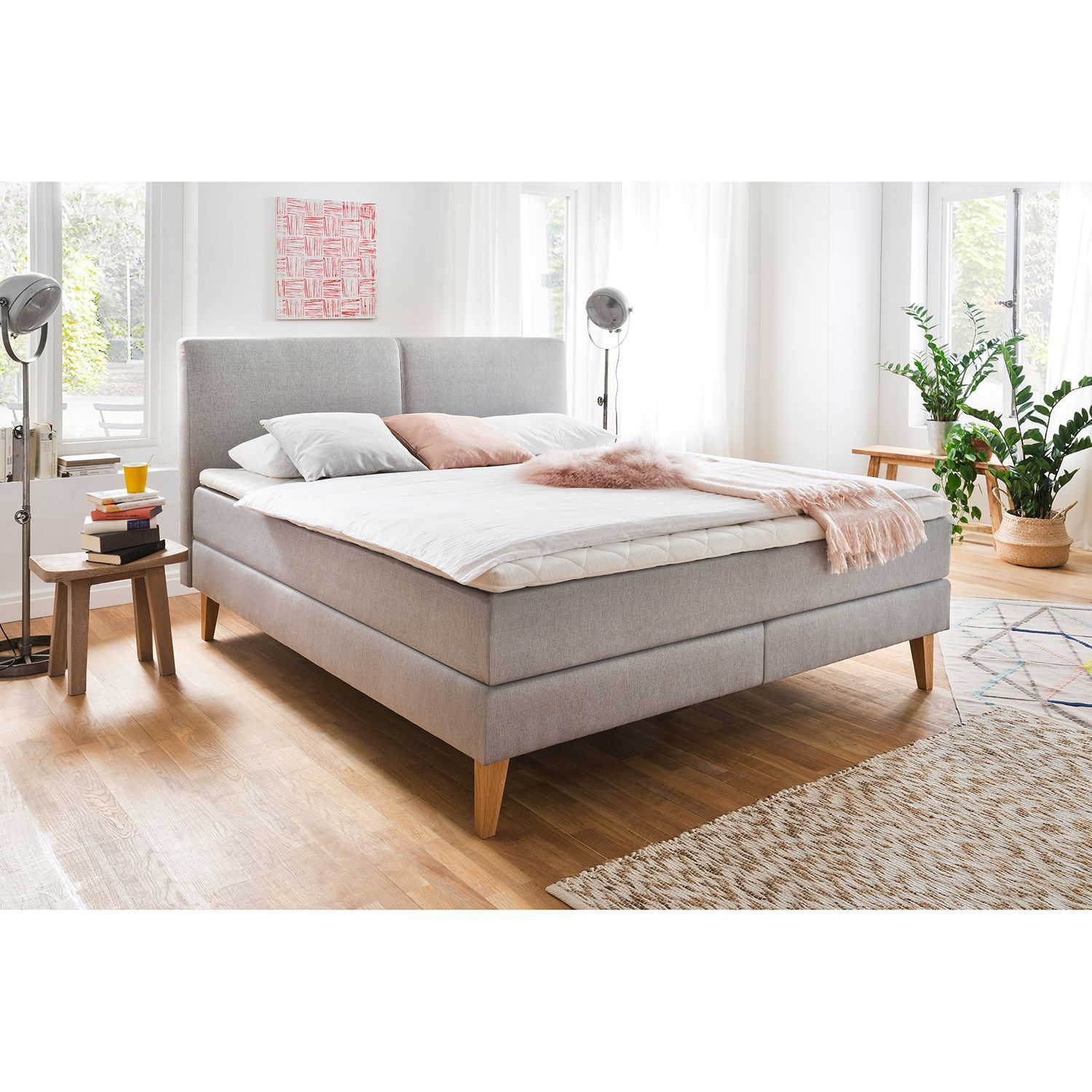Meise Moebel Boxspringbett Greta 180x200 Cm Webstoff Hellgrau Mit Matratze In 2020 Farmhouse Chic Dining Room Box Spring Bed Furniture