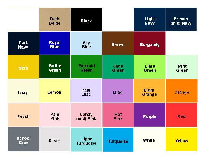 Pick \ Mix Main Colour Chart Wedding decorations Pinterest - pick chart