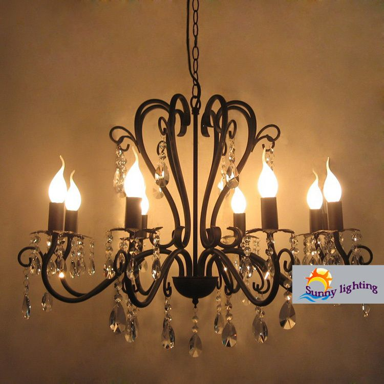 Coffee shop vintage wrought iron chandelier crystal lampara black coffee shop vintage wrought iron chandelier crystal lampara black chandelier luster hotel bedroom kitchen bar interior mozeypictures