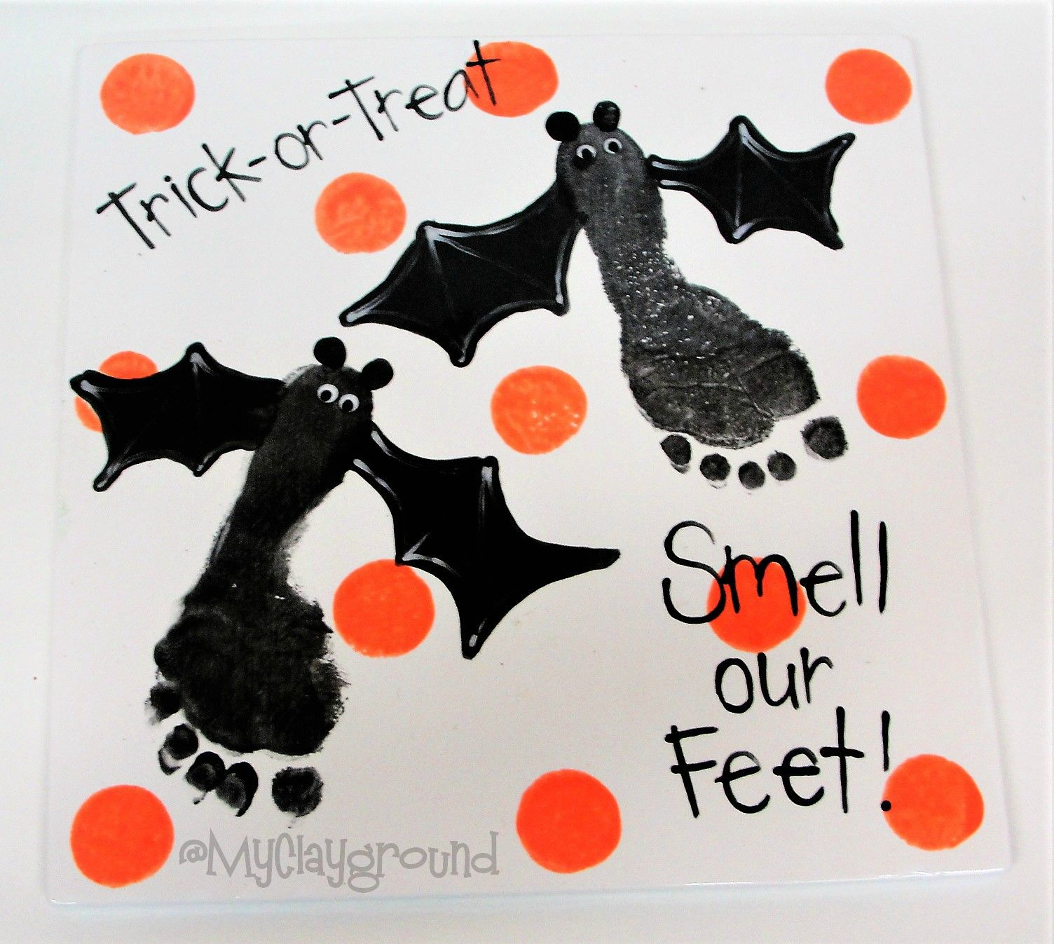 Bat Foot Prints Halloween Pottery Painting
