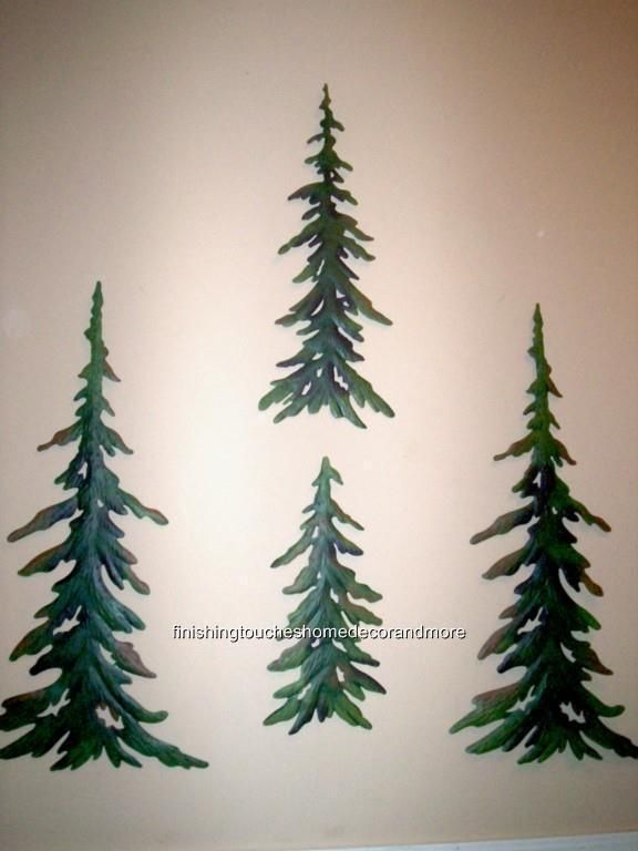 New 4 Pc Green Pine Tree Forest Timber Woodland Metal Wall Art Set Cabin Lodge Unbranded