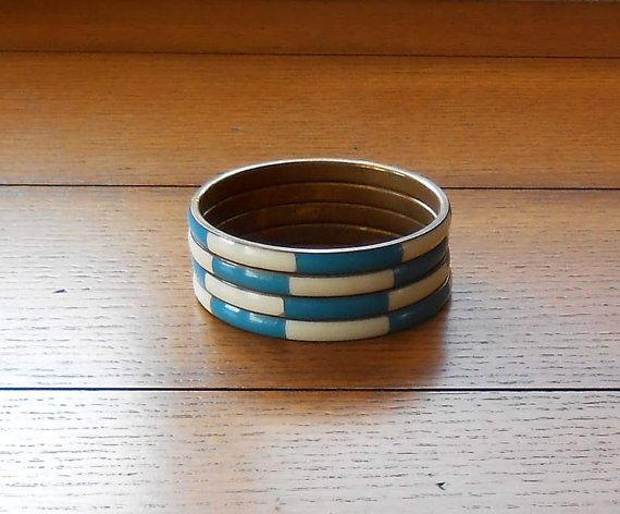 Four Two Color Enameled Bangle Bracelets Teal and White On Brass