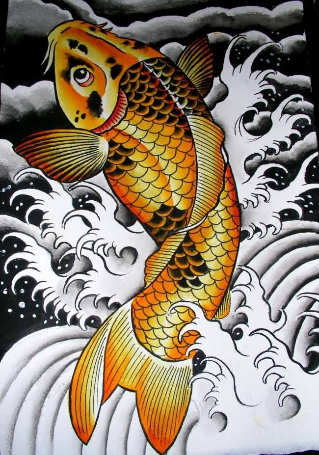 Best golden koi fish tattoo design beautiful my style for Japanese koi carp tattoos