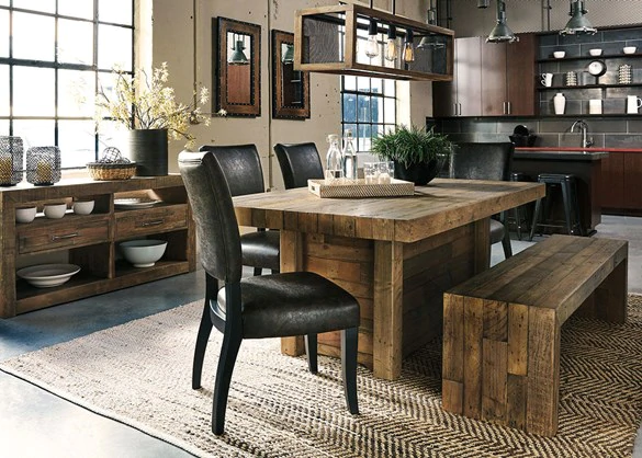 Crestwood 6 Pc Dinette The Roomplace In 2020 Dining Table With Bench Brown Dining Room Modern Farmhouse Dining Room