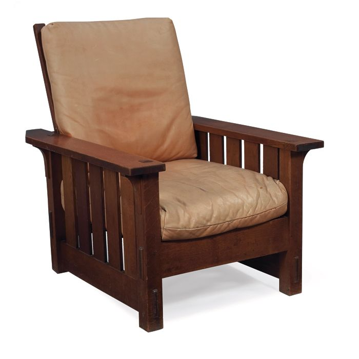... Stickley Morris Chair, #332, Flat Arm Form With Five Vertical Slats  Under Each Arm And Corbel Supports At Sides, Recovered Leather Cushions,  Replaced ...