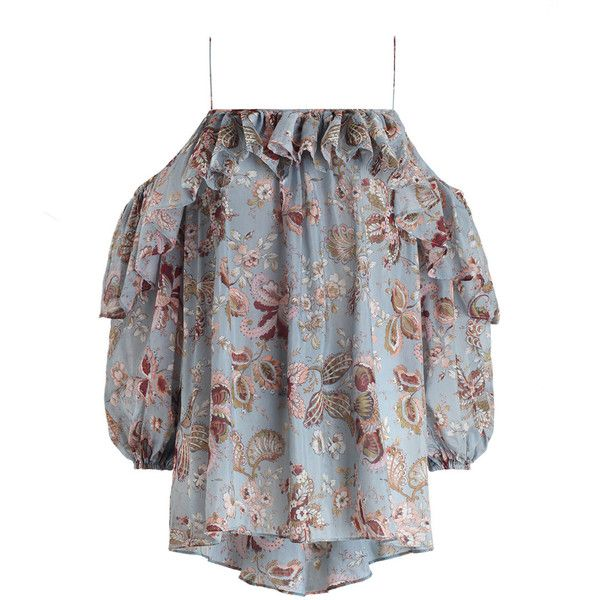 28ba5faa437705 ZIMMERMANN Pavilion Floating Frill Top ($325) ❤ liked on Polyvore featuring  tops, floral ruffle top, blouson swim top, blouson top, floral tops and ...