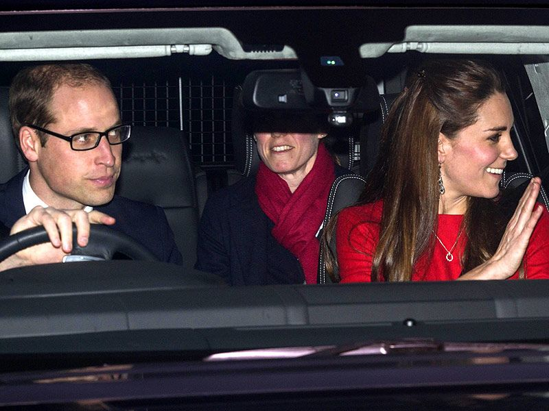 Prince William, Kate & George Make Their Way to Buckingham Palace for Christmas Party
