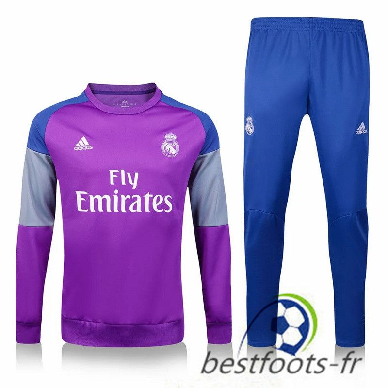 Le Survetement de foot Real Madrid Pourpre + Pantalon Bleu 2016 2017 ... eba0cd664ad