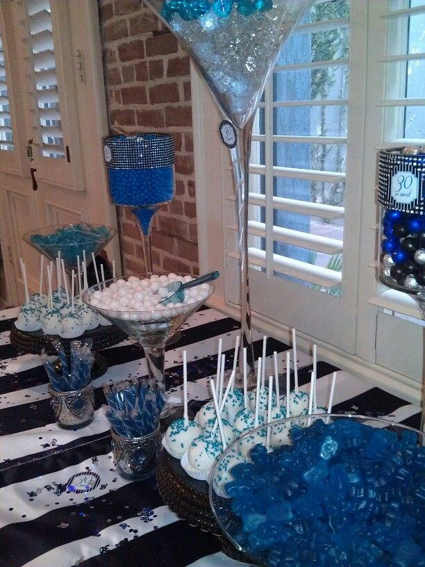 30th Birthday Martini Glass Candy Buffet