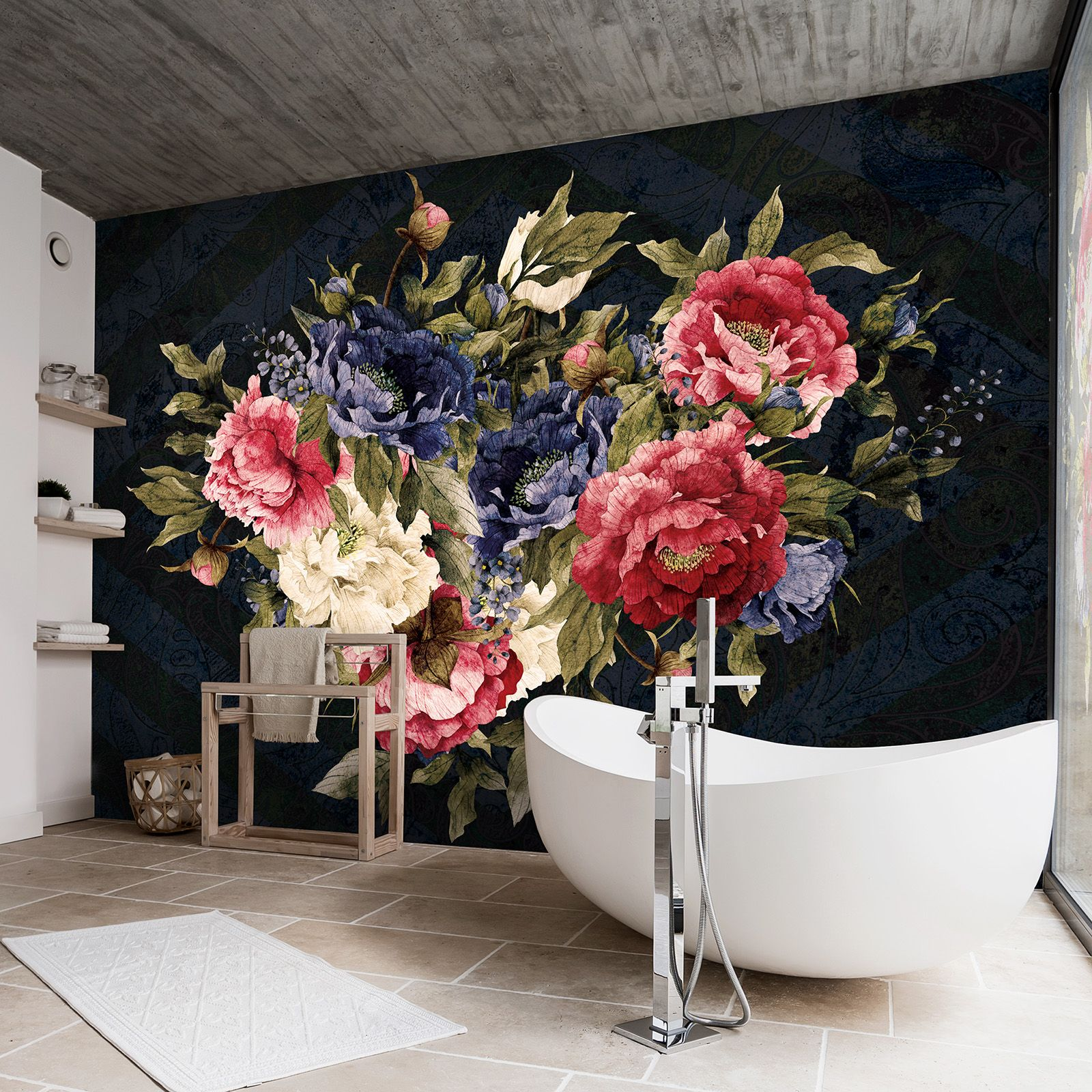 Forwall Fototapete Vlies Tapete Wanddeko Blumen Vintage