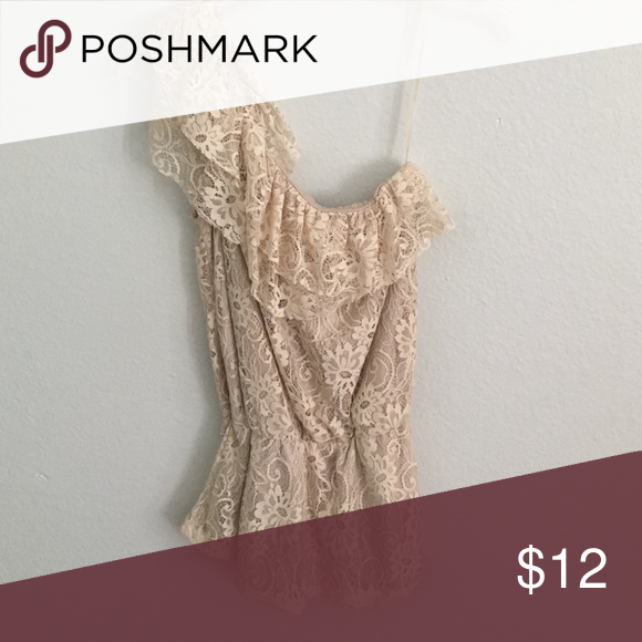 Forever 21 one shoulder floral lace top  Worn once :) Forever 21 Tops