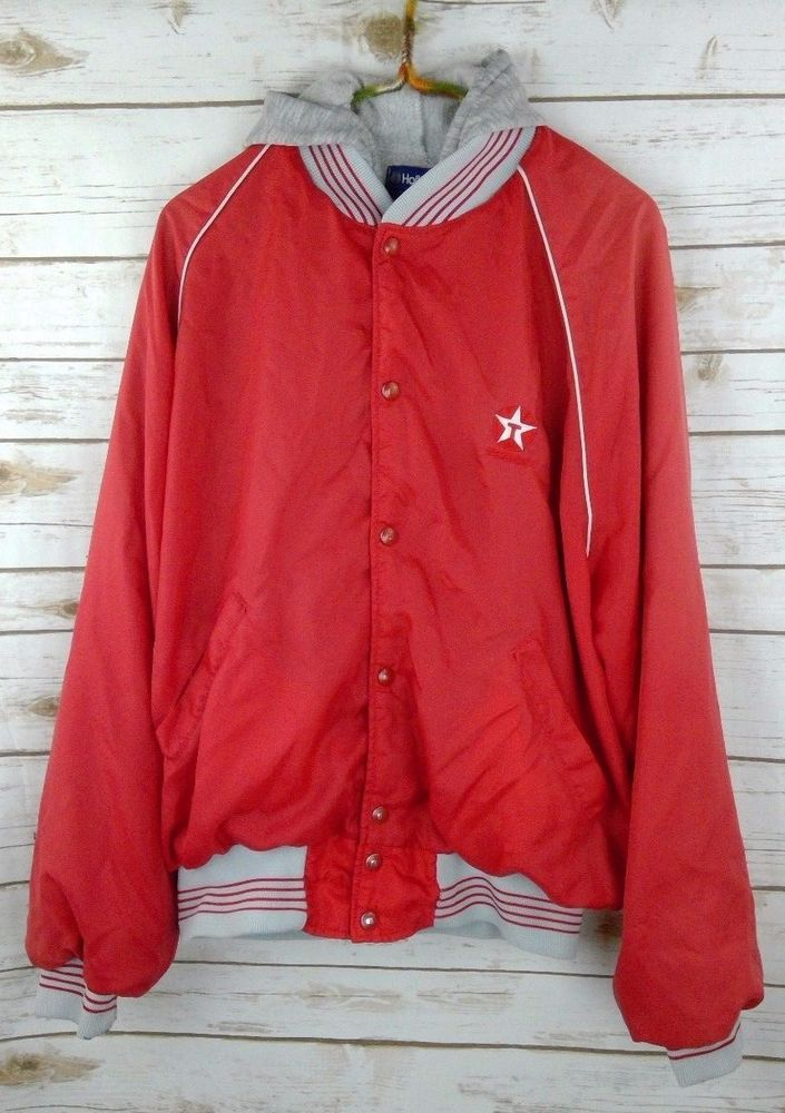 Vintage Texaco Jacket Sz L Bomber Windbreaker Hooded Gas