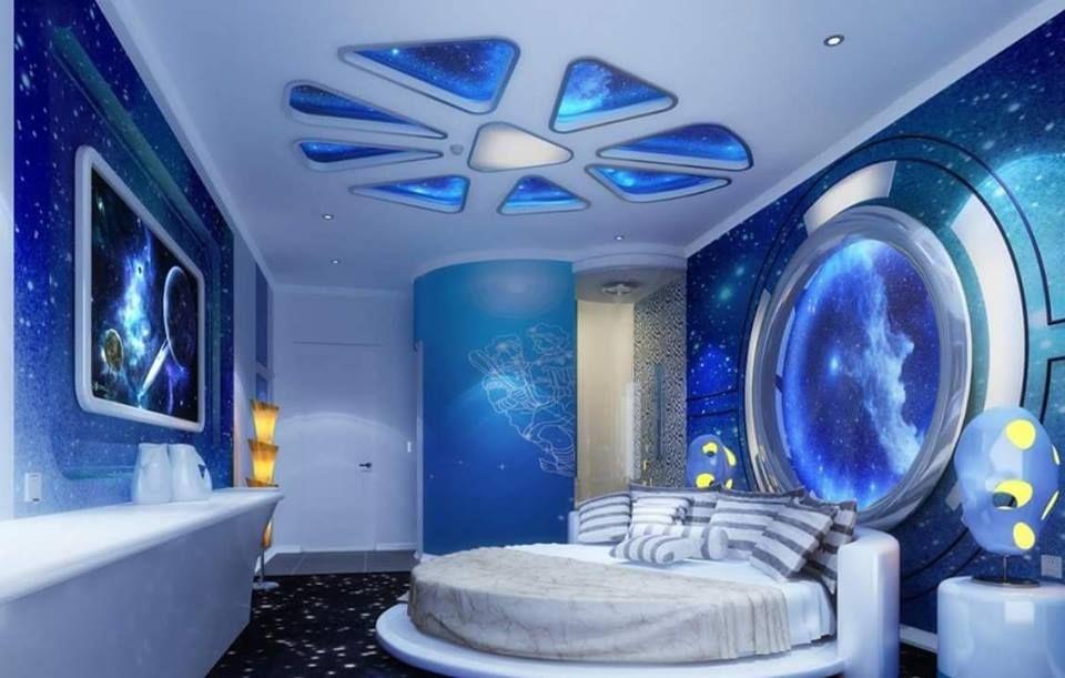 احدث كتالوج صور ديكورات جبسون بورد اسقف 2017 2018 Space Themed Room Futuristic Bedroom Outer Space Bedroom