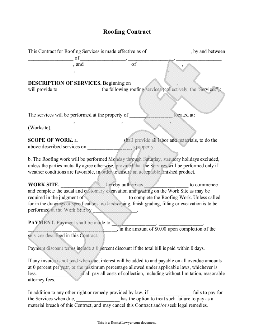 Roofing Contract Template Free Form with Sample sample roofing