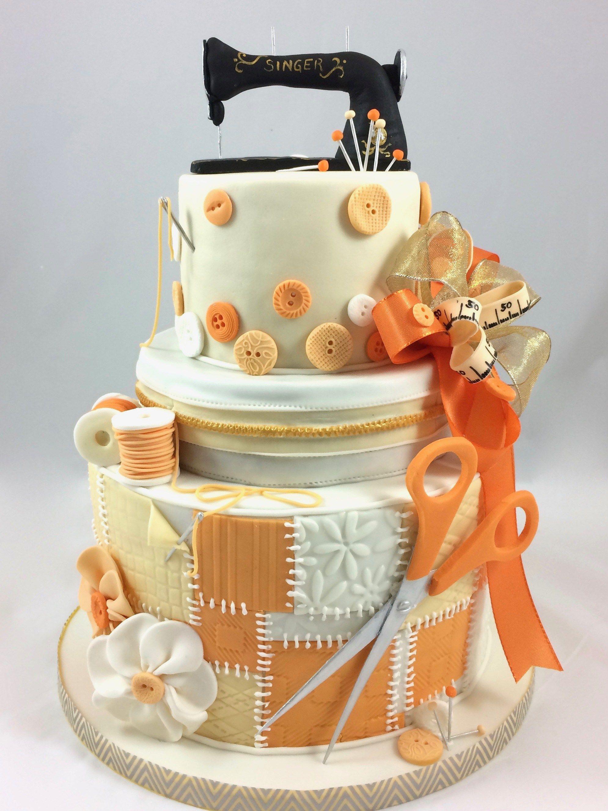 sewing machine n hen n hmaschine torte schere kn pfe orange cake singer motivtorten figuren. Black Bedroom Furniture Sets. Home Design Ideas