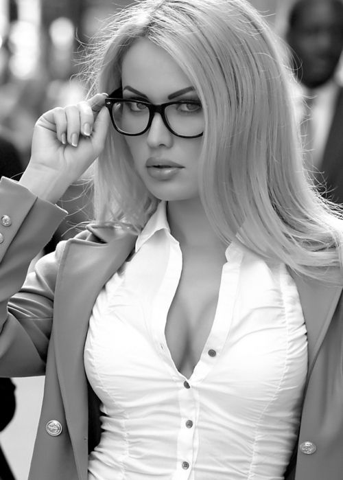 blonde Hot glasses sexy girl with