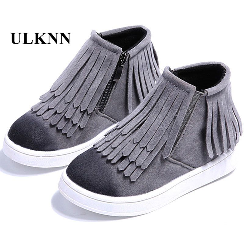 Nice Fringe Girls Boots Fur Thick Warm Children S Shoes 2017 New Shoes For Boys Top Quality Baby Cotton Zip Kids Snow Boots Fringe Shoes Skate Shoes For Girls