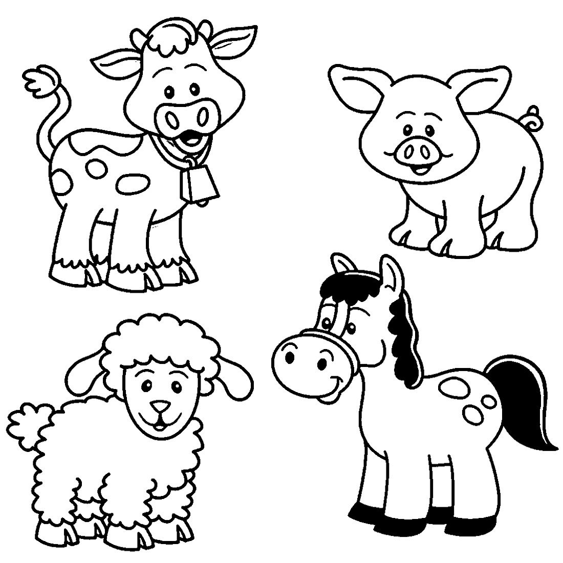 Printable Farm Animal Coloring for Kindergarten K5