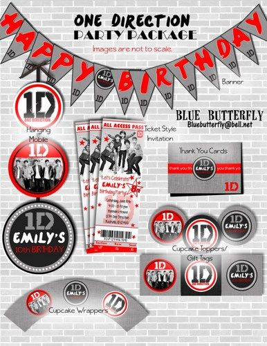 1d One Direction Birthday Party Package Decorations With Invitations
