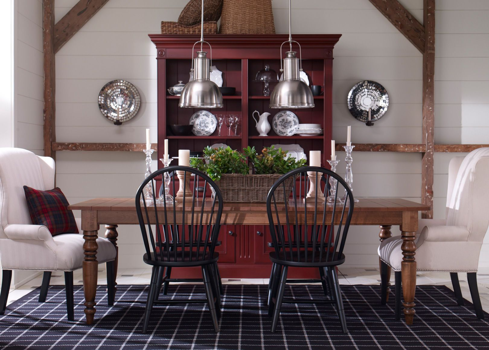 Farmhouse table and upholstered chairs with images