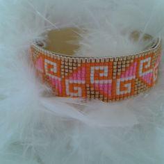 Bracelet manchette chic tissé avec des perles miyuki