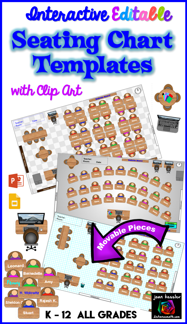 Interactive seating chart templates with clip art two forms google slides and powerpoint customizable fun to use great for flexible classrooms also classroom planner rh pinterest