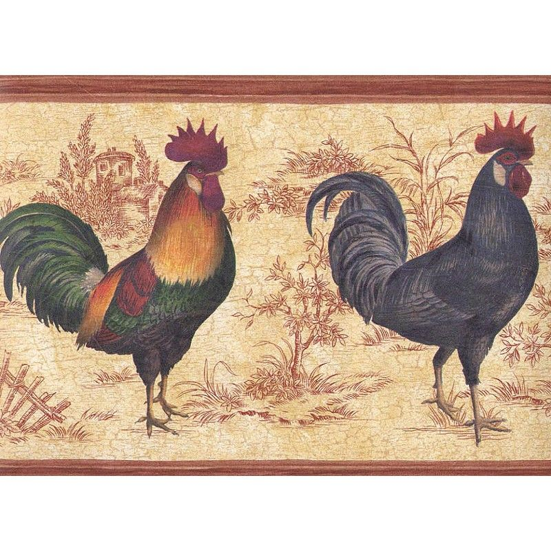 View Source Image Chicken Wallpaper Toile Borders Rooster Decor