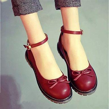 Chaussures+Femme+-+Décontracté+-+Noir+/+Marron+/+Rouge+-+Talon+Plat+-+Bout+Arrondi+-+Plates+-+Similicuir+–+EUR+€+24.49