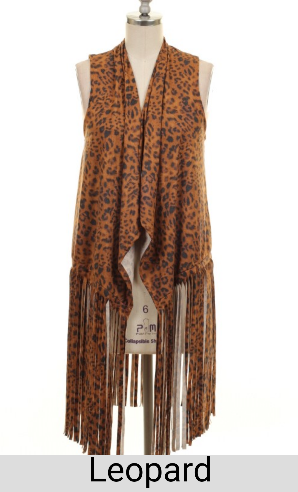 Texas Belle Leopard Fringe Suede Vest Also In Plus Size Leopard