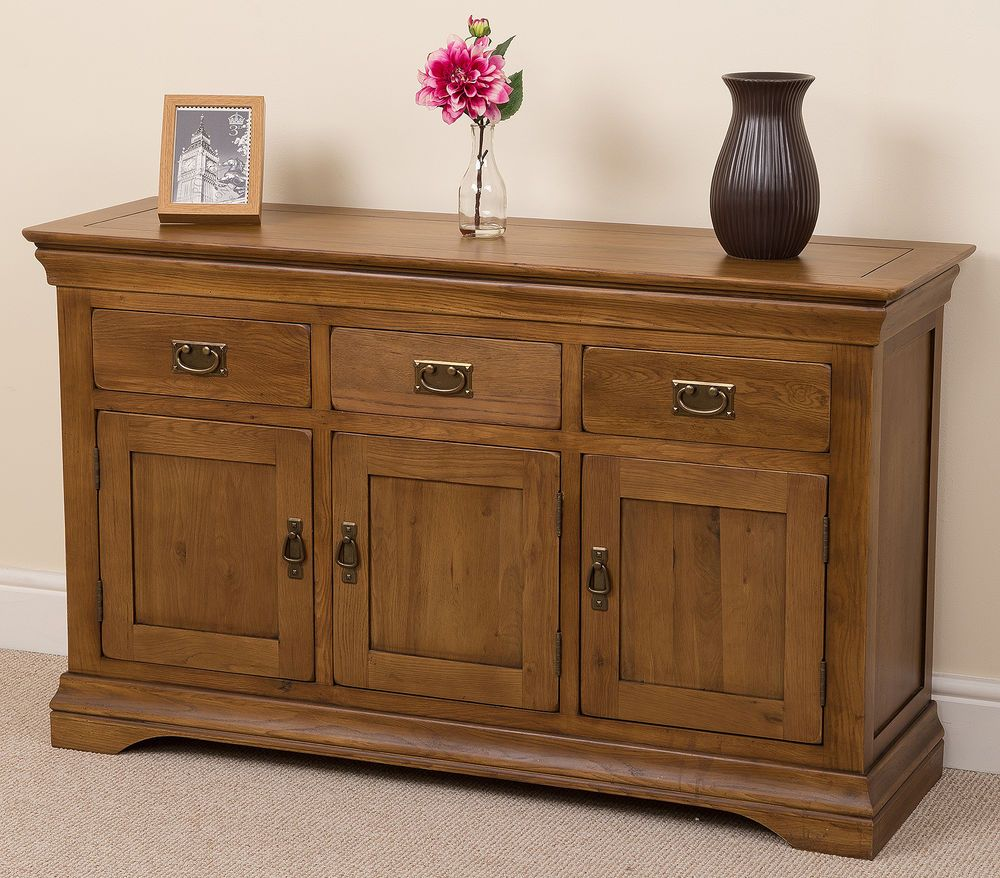 FRENCH RUSTIC SOLID OAK LARGE SIDEBOARD CABINET FURNITURE NEW