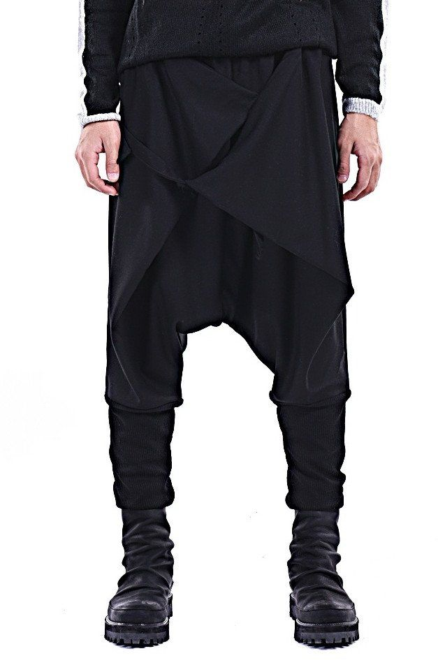 Black Casual Drop Crotch Wrap Harem Ninja Pants // Wrap Skirt Layered  Joggers